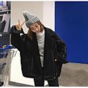 女性 カジュアル/普段着 冬 ソリッド コート,シンプル ブラック アクリル 長袖 厚手