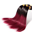 3個/ロット暗赤色オンブル髪卸売ブラジルの毛、未処理の100%とソフトなストレートブラジルオンブル髪