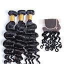 Nový přírůstek brazilský prodlužování vlasů Remy vlasy tkát, top prodej 12-26inch brazilské přírodní vlny s uzávěrem