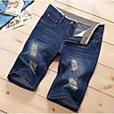 Pánské Jednoduchý Aktivní Mikro elastické Džíny Kraťasy Kalhoty Rovné Mid Rise Jednobarevné