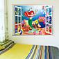 Crtani film Zid Naljepnice 3D zidne naljepnice Dekorativne zidne naljepnice,PVC Materijal Odstranjivo Početna Dekoracija Zid preslikača
