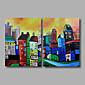 Ručně malované Abstraktní / KrajinaModerní Dva panely Plátno Hang-malované olejomalba For Home dekorace
