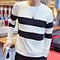 Prugasti uzorak Muška Majica s rukavima Ležerne prilike,Poliester Dugih rukava-Crna / Bijela