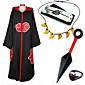 Inspirirana Naruto Sasuke Uchiha Anime Cosplay nošnje Cosplay Suits / More Accessories Print Crna / Crvena Plašt / More Accessories