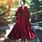 婦人向け カジュアル/普段着 秋 / 冬 ソリッド コート,シンプル フード付き レッド ウール 長袖 スモーキー