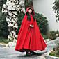 Kaput Žene,Vintage Ležerno/za svaki dan Jednobojni-Dugih rukava Jesen / Zima-S kapuljačom Crvena Debelo Drugo