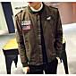 男性 カジュアル/普段着 秋 プリント ジャケット,ストリートファッション スタンド グリーン コットン 長袖 ミディアム